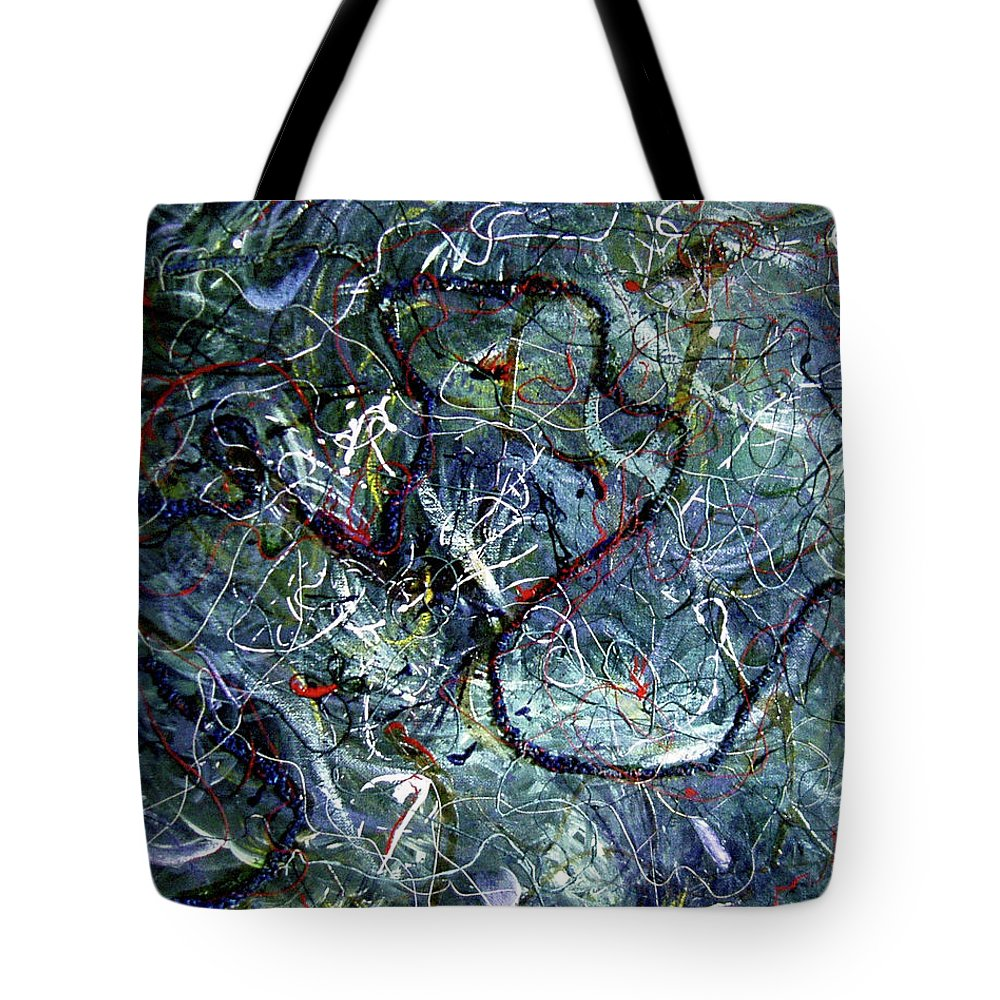 Acrylic Tote Bag featuring the painting Intertwining Paths by Nancy Mueller