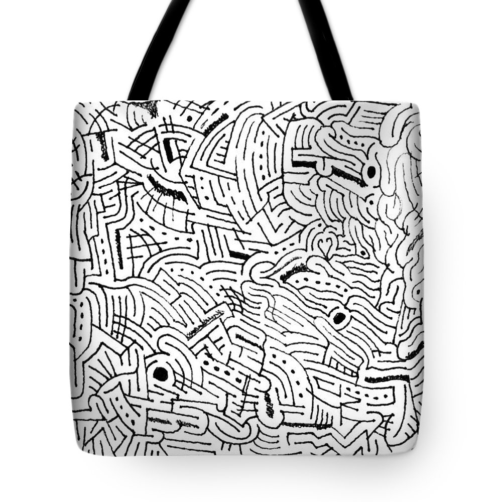 Mazes Tote Bag featuring the drawing Intervolve by Steven Natanson