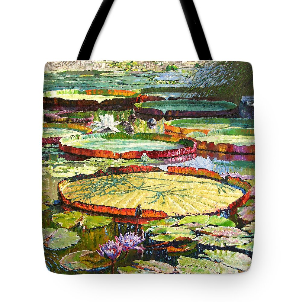 Garden Pond Tote Bag featuring the painting Interwoven Beauty by John Lautermilch