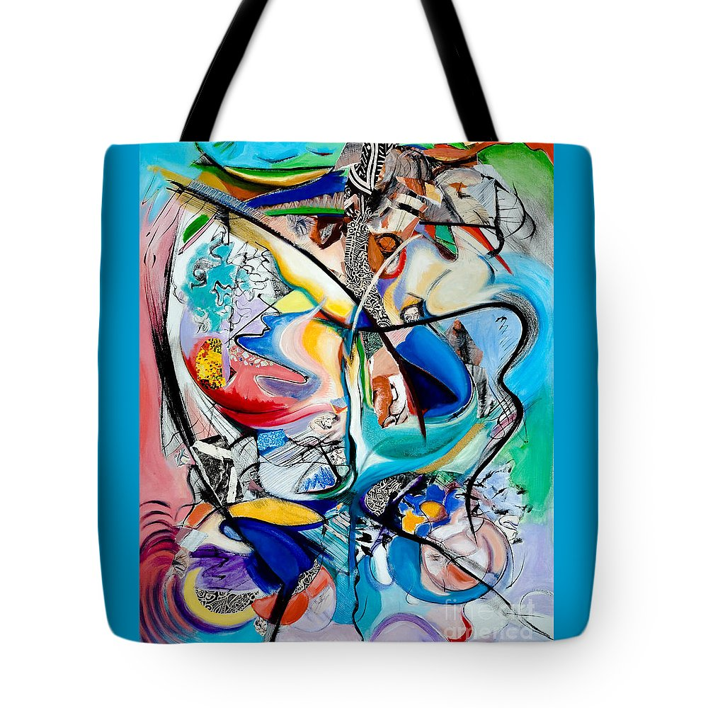 Abstract Tote Bag featuring the painting Intimate Glimpses - Journey Of Life by Kerryn Madsen-Pietsch
