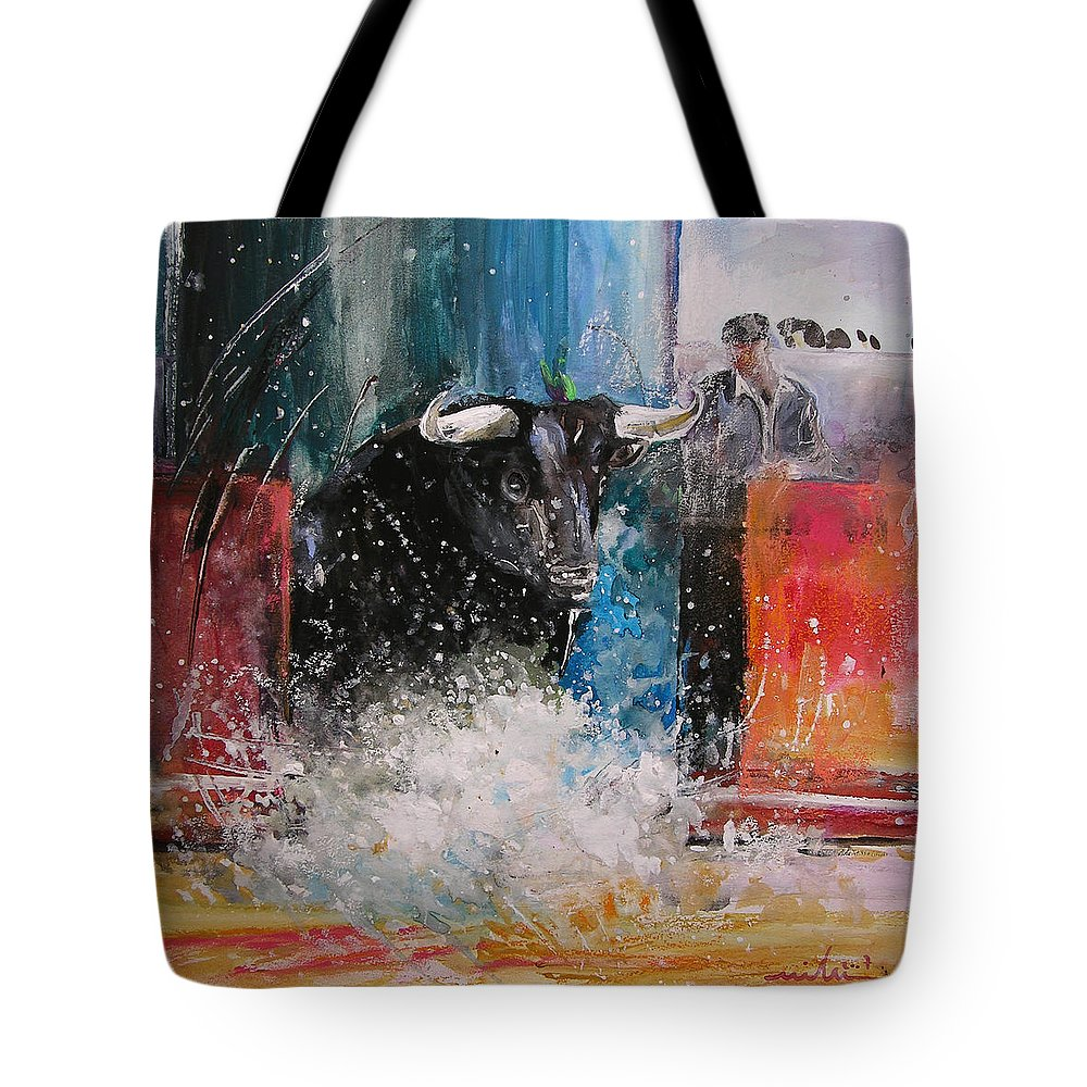 Animals Tote Bag featuring the painting Into The Arena by Miki De Goodaboom