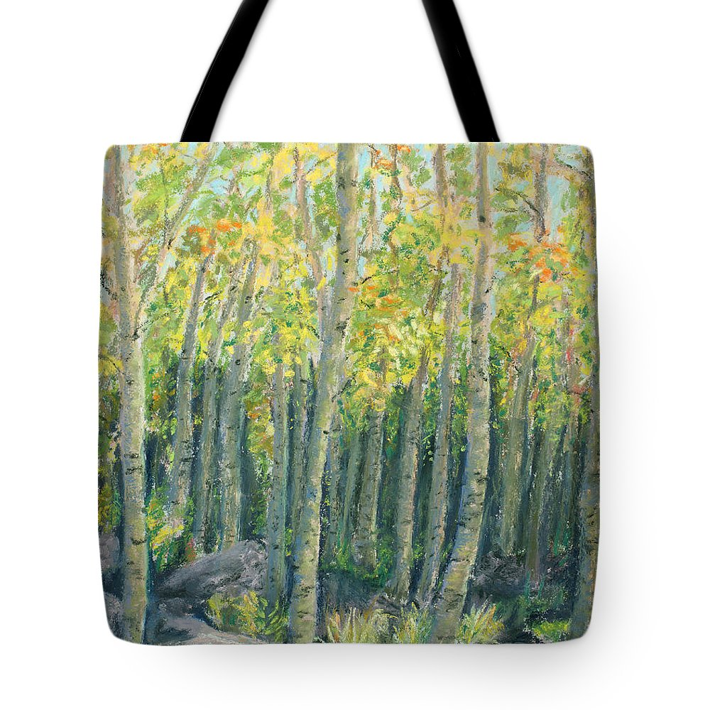 Aspens Tote Bag featuring the painting Into The Aspens by Mary Benke