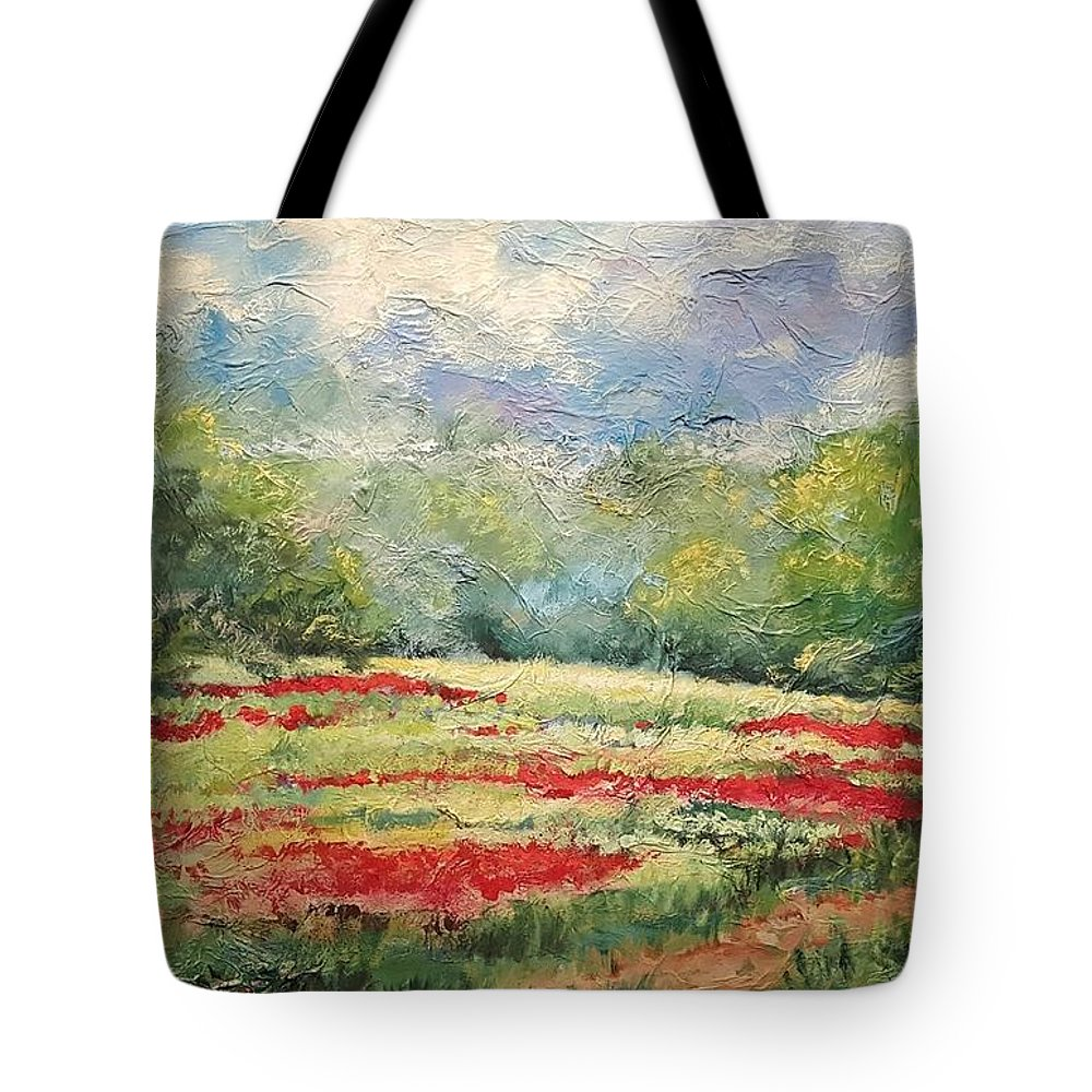 Clover Pastures Tote Bag featuring the painting Into the Clover by Ginger Concepcion