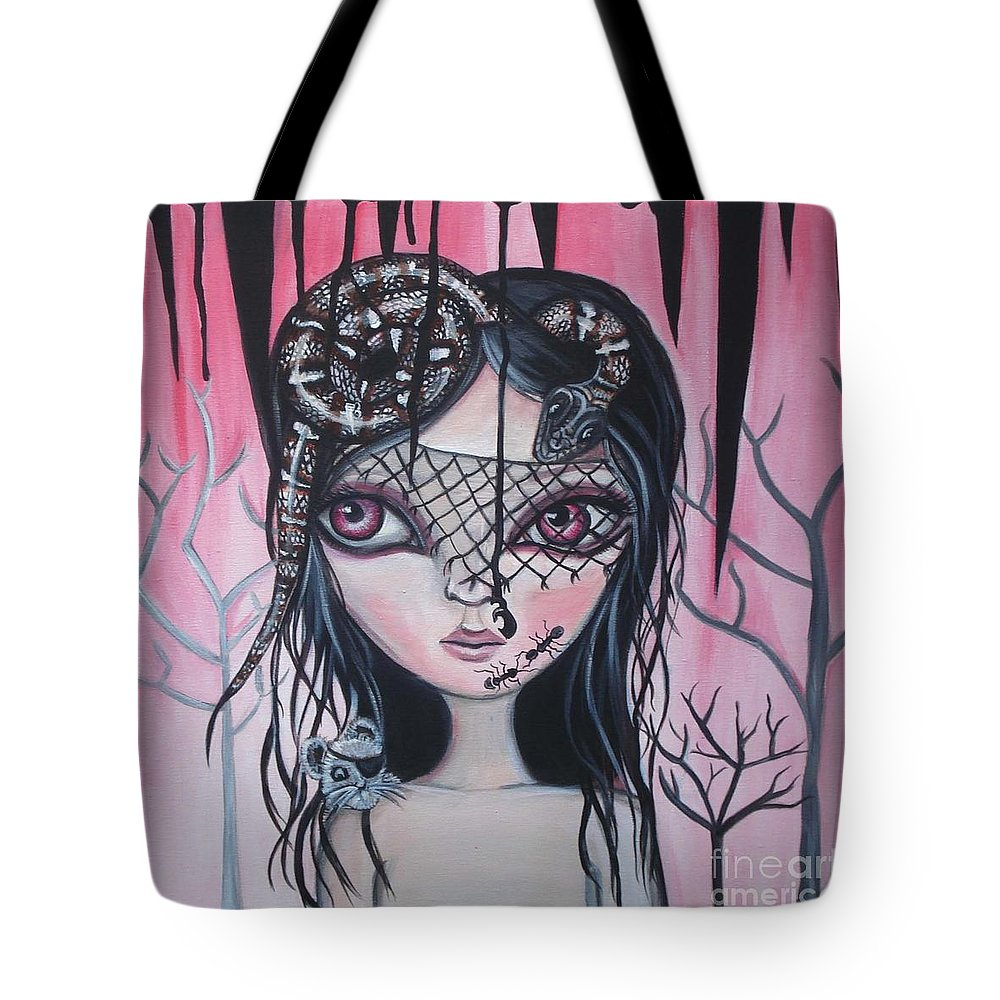 Art Tote Bag featuring the painting Into The Darkness by Jaz Higgins