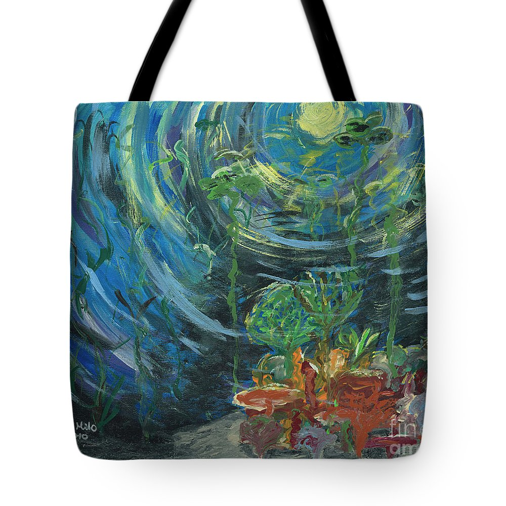 Tote Bag featuring the painting Into The Deep by Ania M Milo
