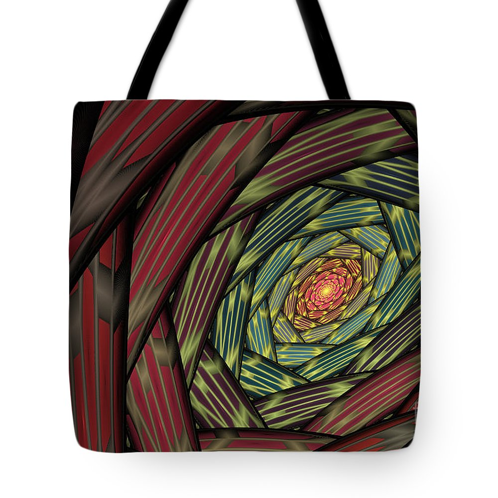Fractal Tote Bag featuring the digital art Into The Fantasy Tunnel by Deborah Benoit
