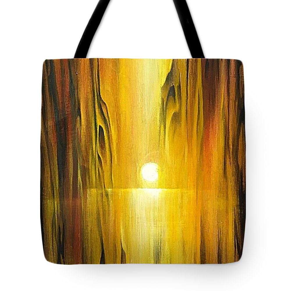 Wood Tote Bag featuring the painting Into The Grain by Vesna Delevska