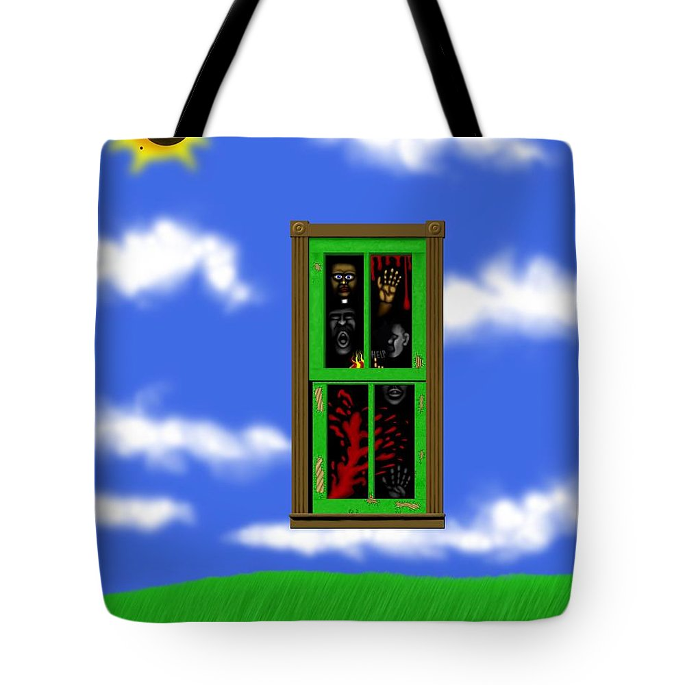 Surrealism Tote Bag featuring the digital art Into The Green Window by Robert Morin