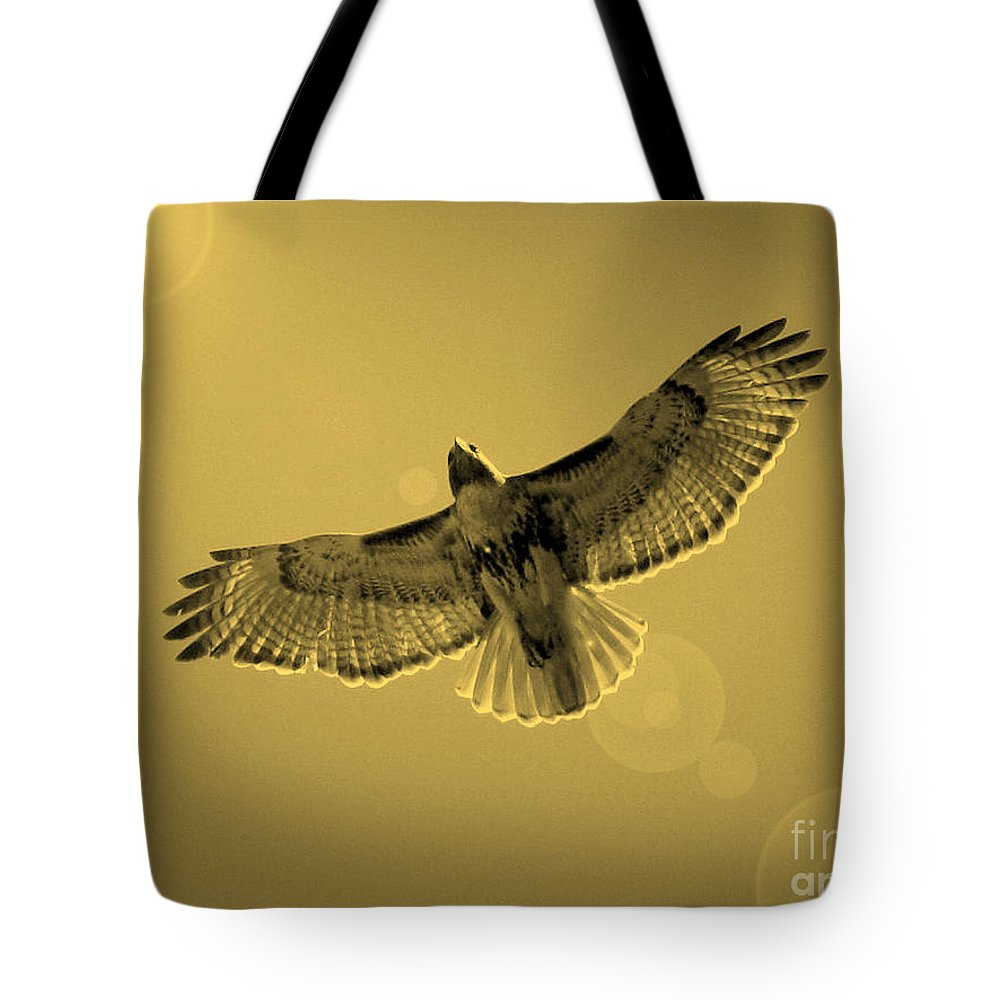 Red-shouldered Hawk Tote Bag featuring the photograph Into The Light - Sepia by Carol Groenen