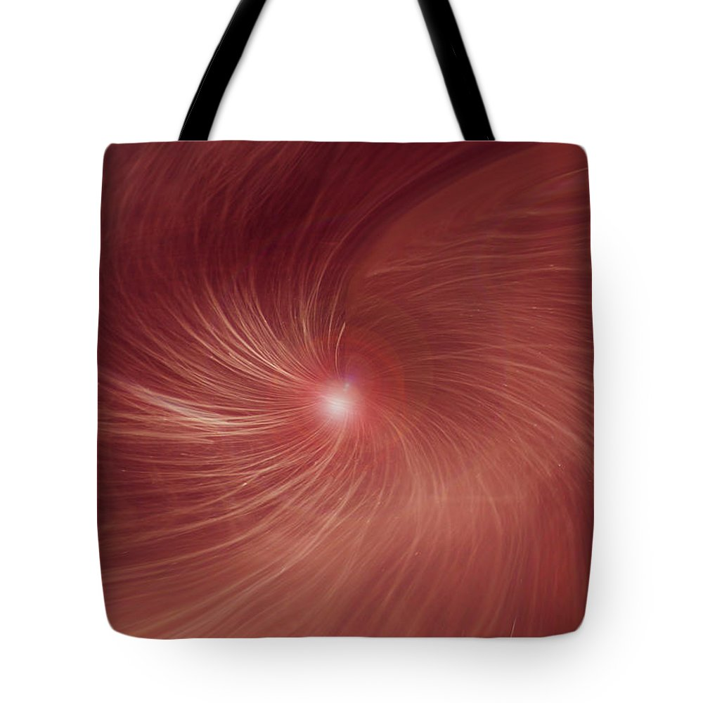 Abstract Red Orandge Light Swirls Digital Design Lines Movement Tote Bag featuring the digital art Into The Light by Linda Sannuti