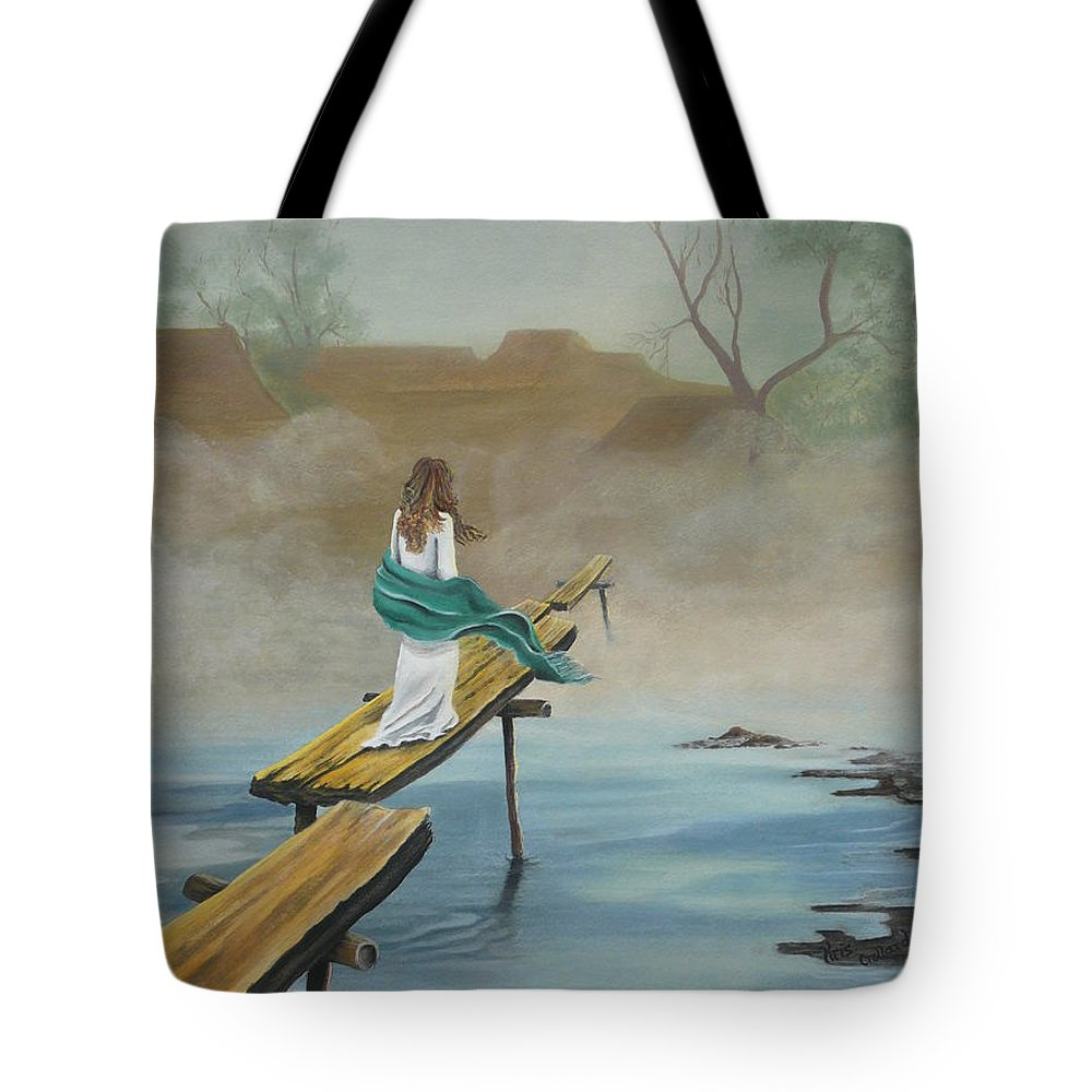 Water Tote Bag featuring the painting Into The Mist by Kris Crollard