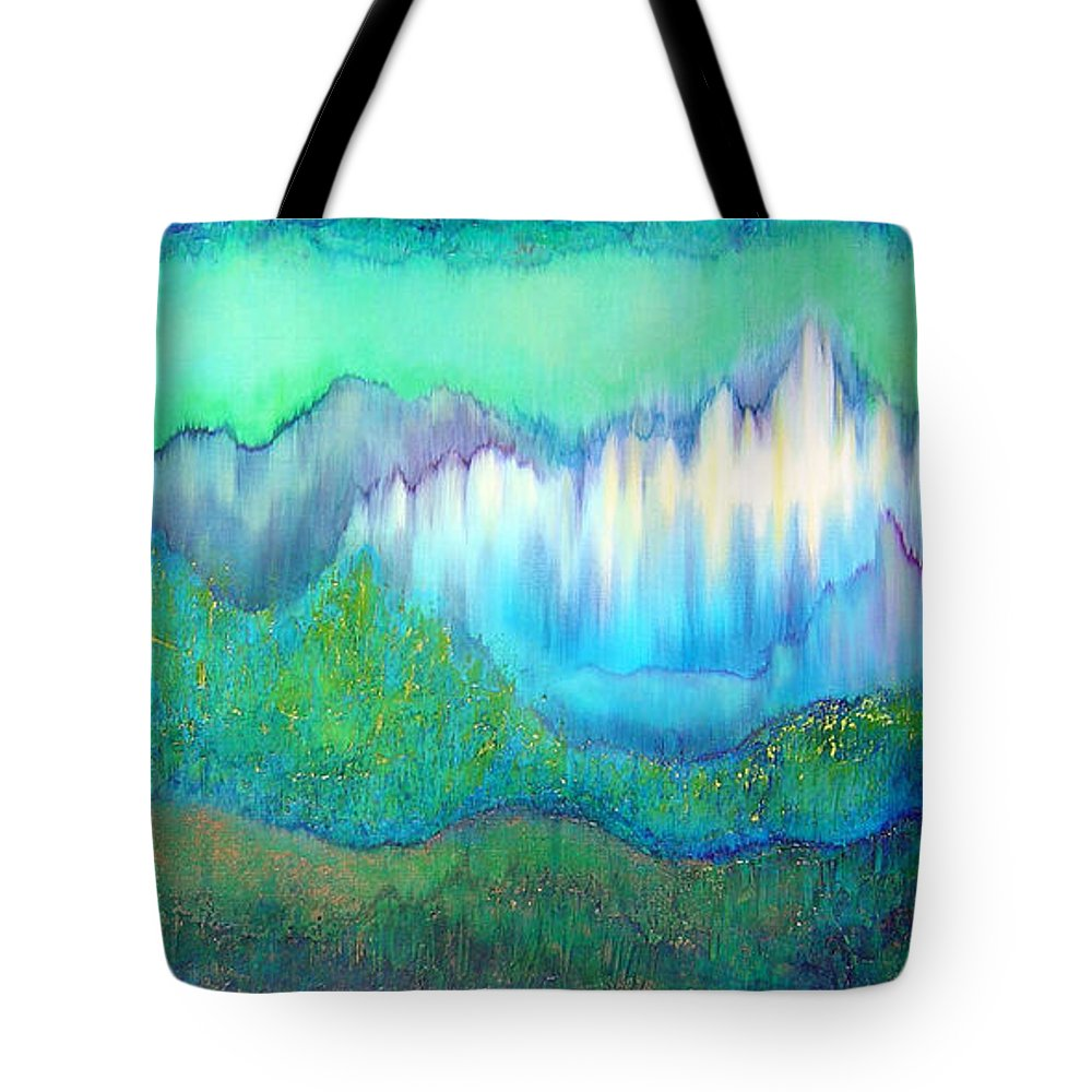 Blue Tote Bag featuring the painting Into The Ocean by Shadia Derbyshire
