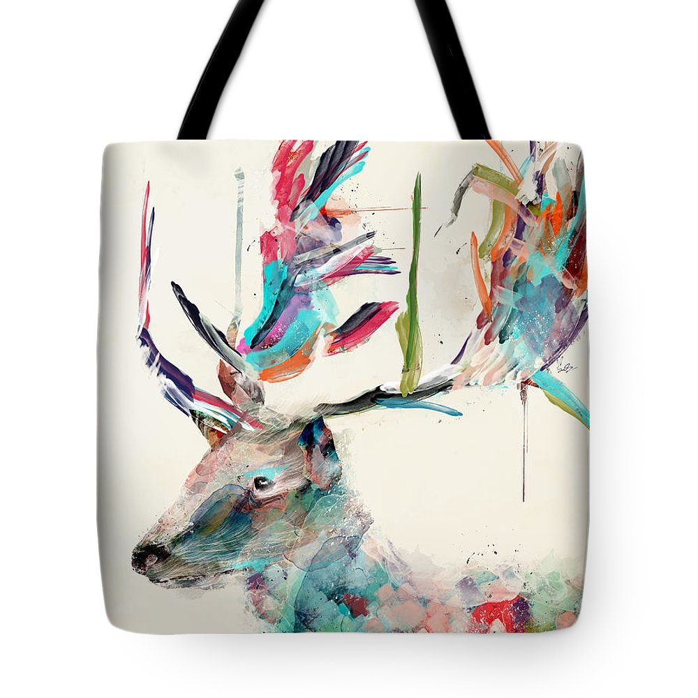 Deer Tote Bag featuring the painting Into The Wild by Bri Buckley