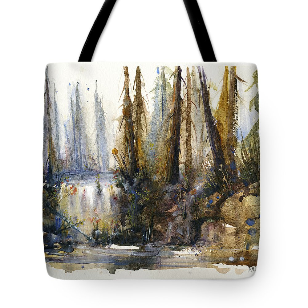 Watercolors Tote Bag featuring the painting Into the Woods by Kristina Vardazaryan