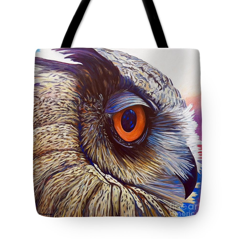 Owl Tote Bag featuring the painting Introspection by Brian Commerford
