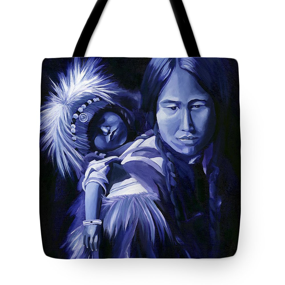 Native American Tote Bag featuring the painting Inuit Mother And Child by Nancy Griswold