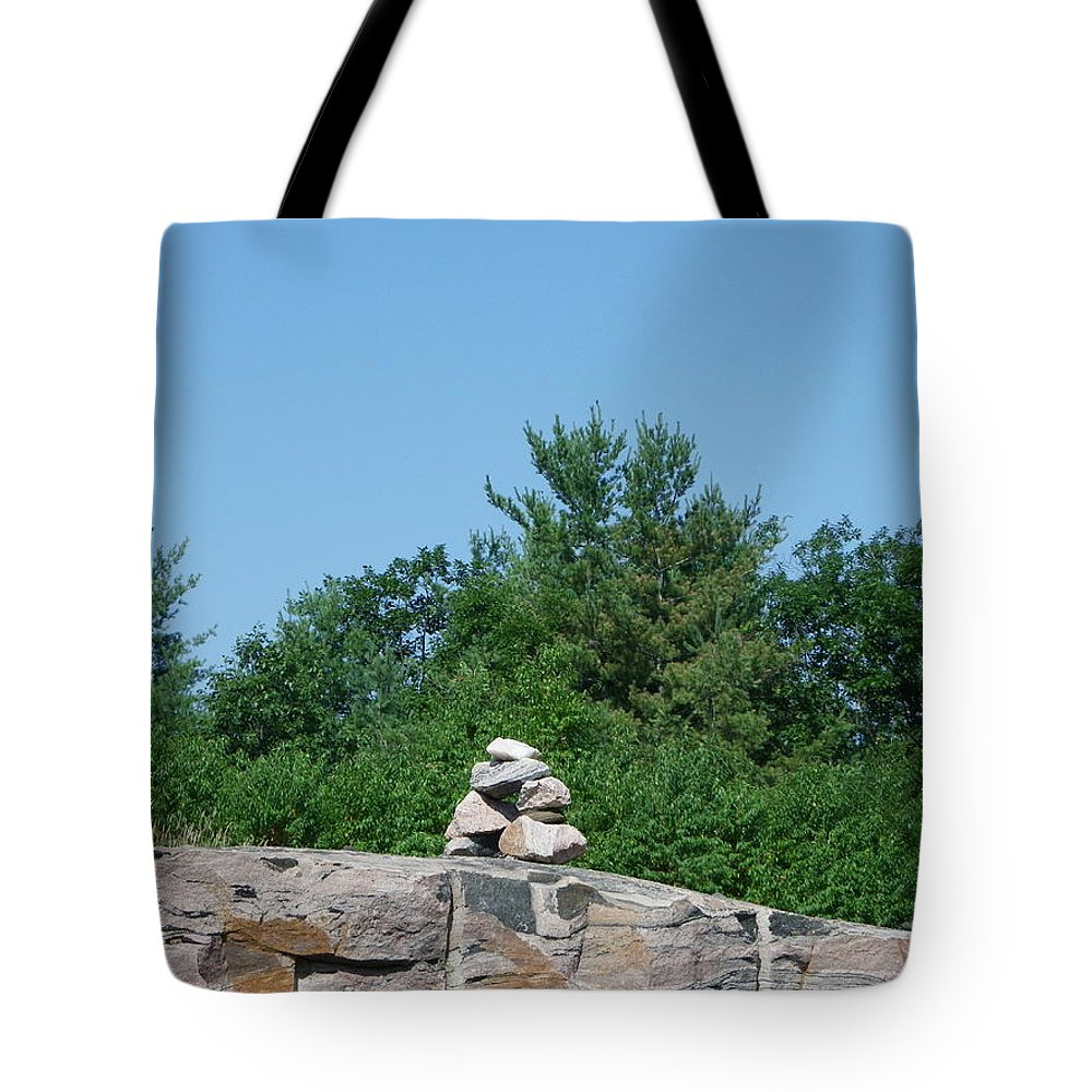 Inuit Tote Bag featuring the photograph Inukshuk 1 by Peggy King