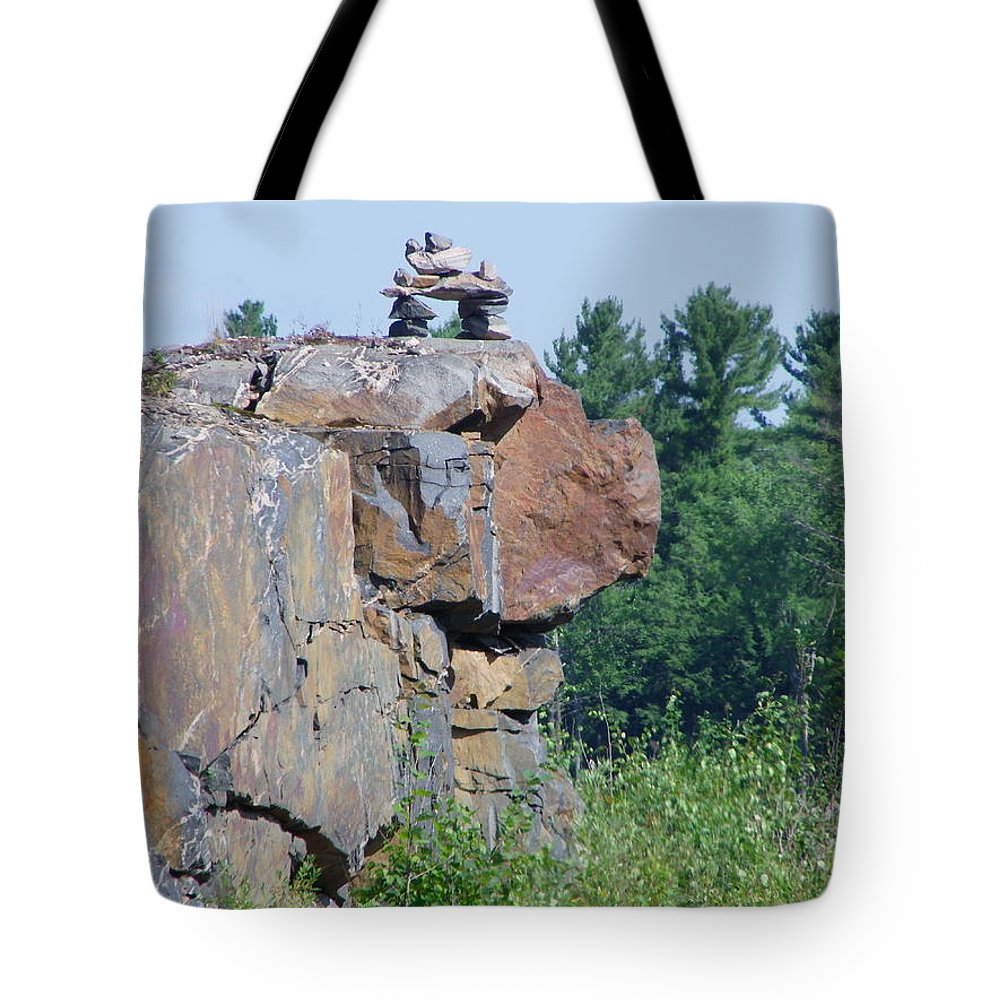 Inuit Tote Bag featuring the photograph Inukshuk 4 by Peggy King
