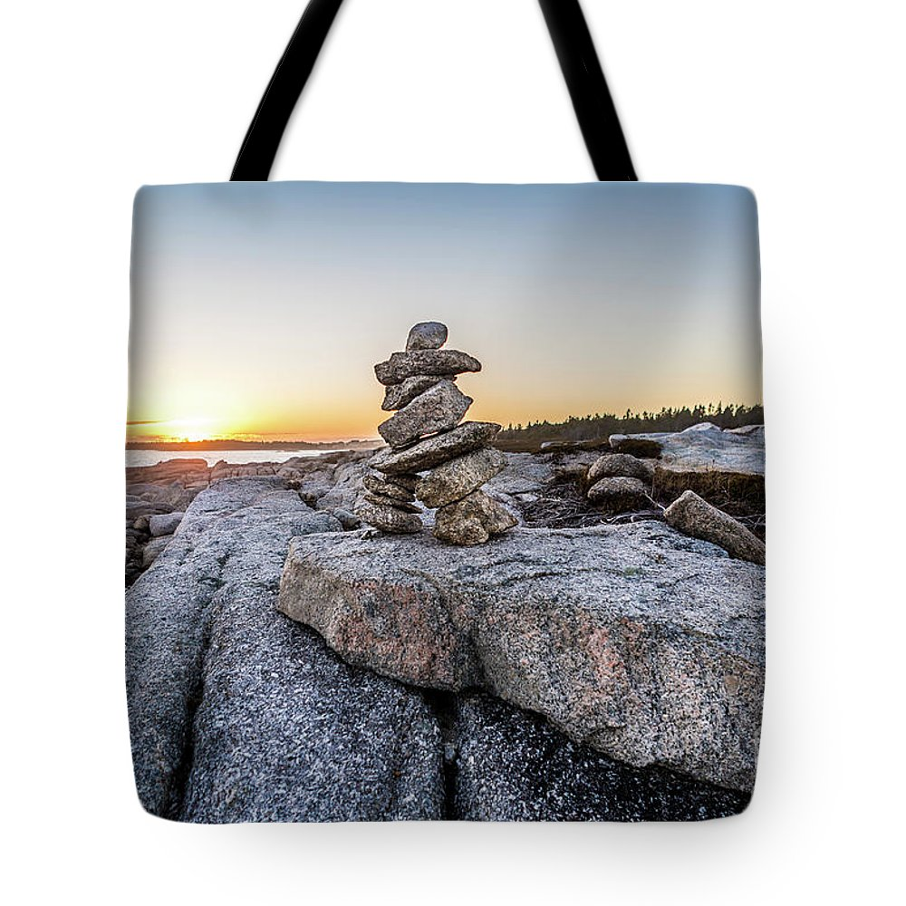 Terence Bay Tote Bag featuring the photograph Inukshuk In Terence Bay, Nova Scotia by Mike Organ