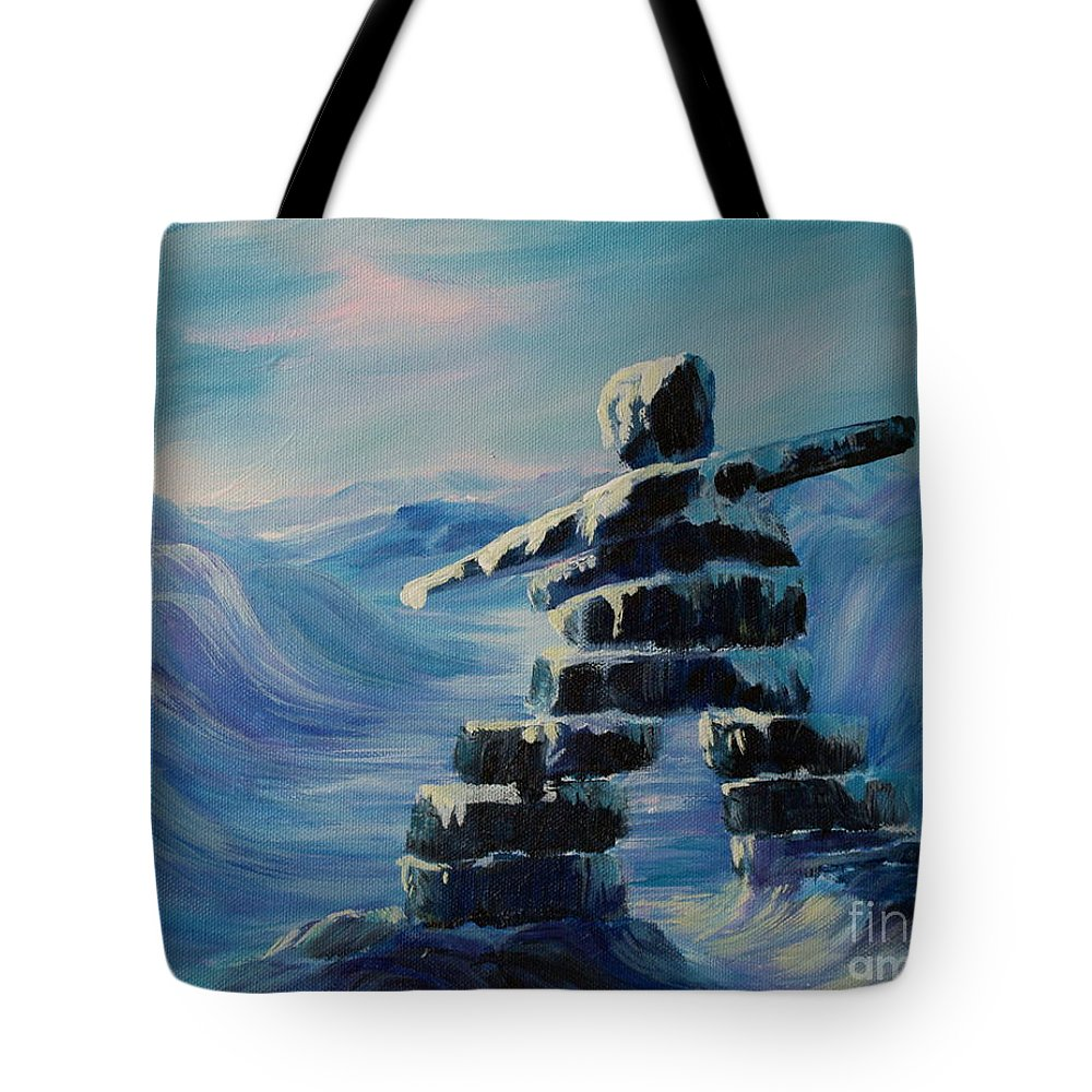 Inukshuk In Northern Canada Tote Bag featuring the painting Inukshuk My Northern Compass by Joanne Smoley
