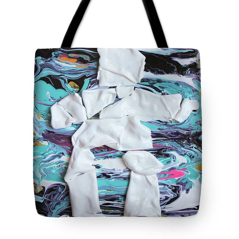 Canada 150 Tote Bag featuring the painting Inukshuk Strata 4 by Madeleine Arnett