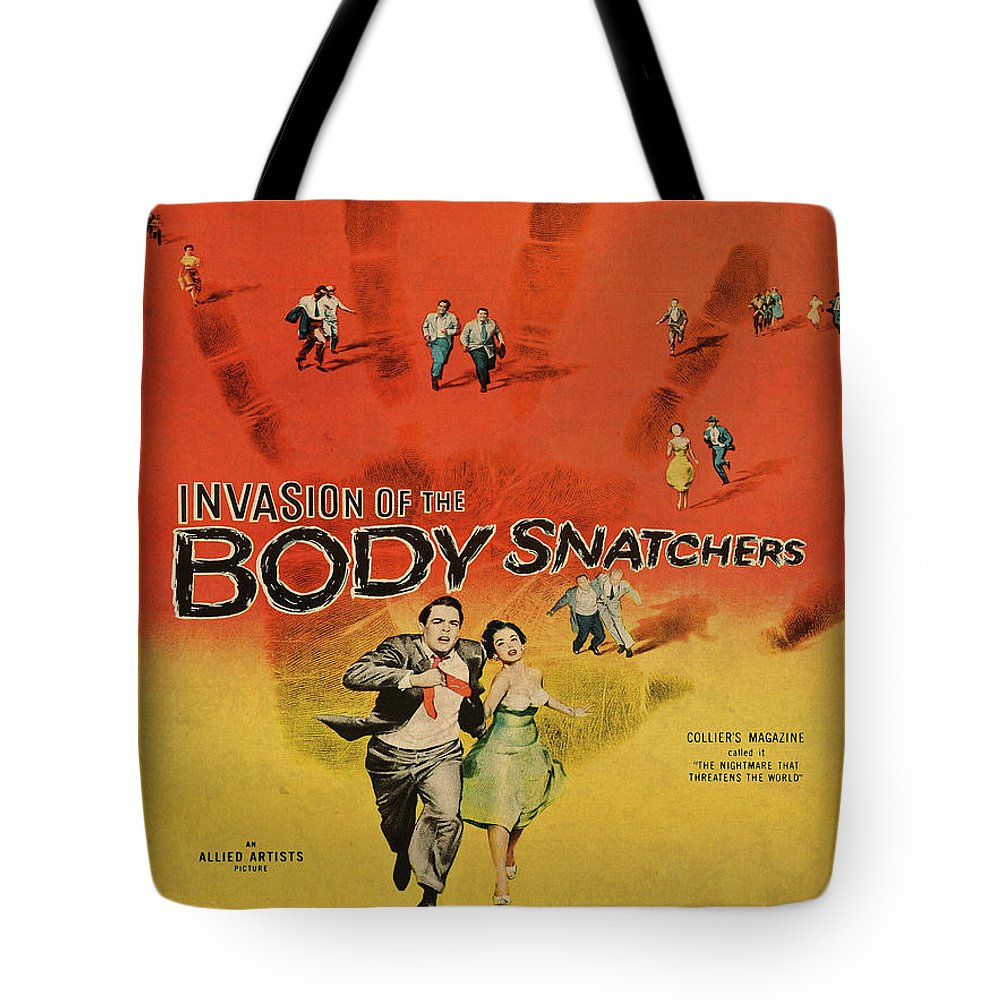 Invasion Of The Bodysnatchers Tote Bag featuring the mixed media Invasion Of The Bodysnatchers Vintage Movie Poster by Design Turnpike