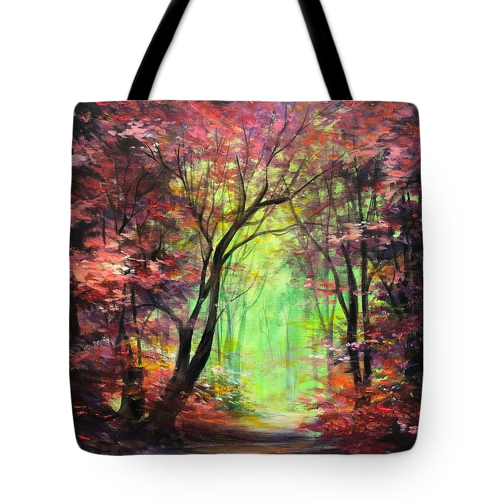Forest Tote Bag featuring the painting Invitation by Vesna Delevska