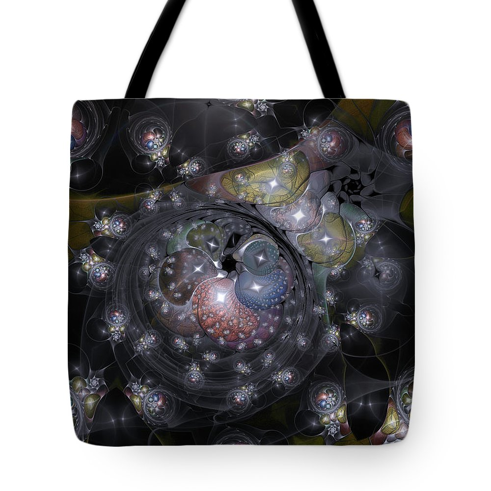Abstract Tote Bag featuring the digital art Involutionary Restraint by Casey Kotas