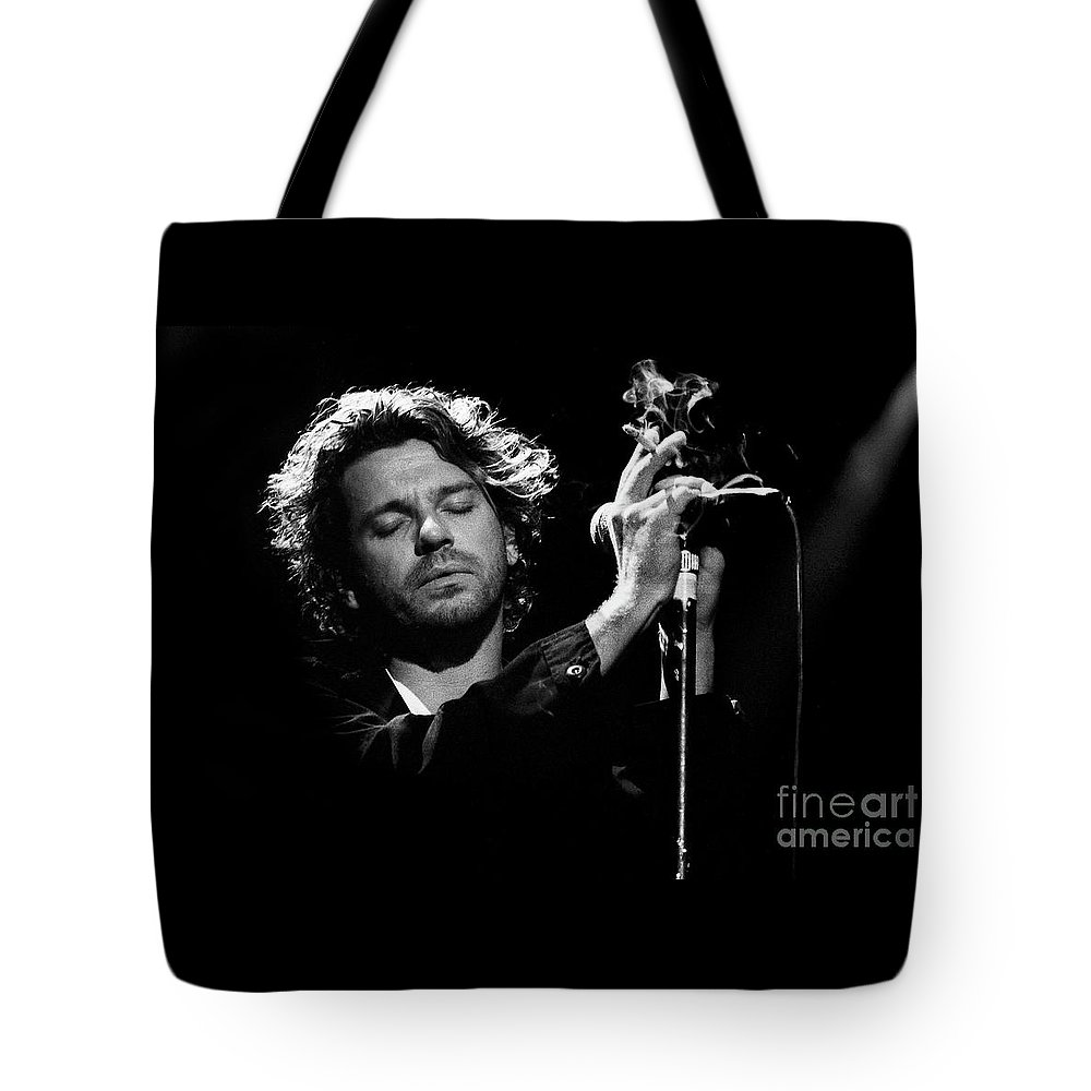 Inxs Tote Bag featuring the photograph Inxs-94-michael-1339 by Timothy Bischoff