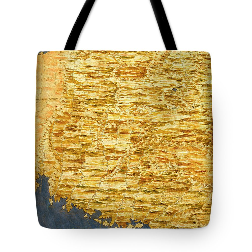 Map Tote Bag featuring the painting Iran by Italian painter of the 16th century