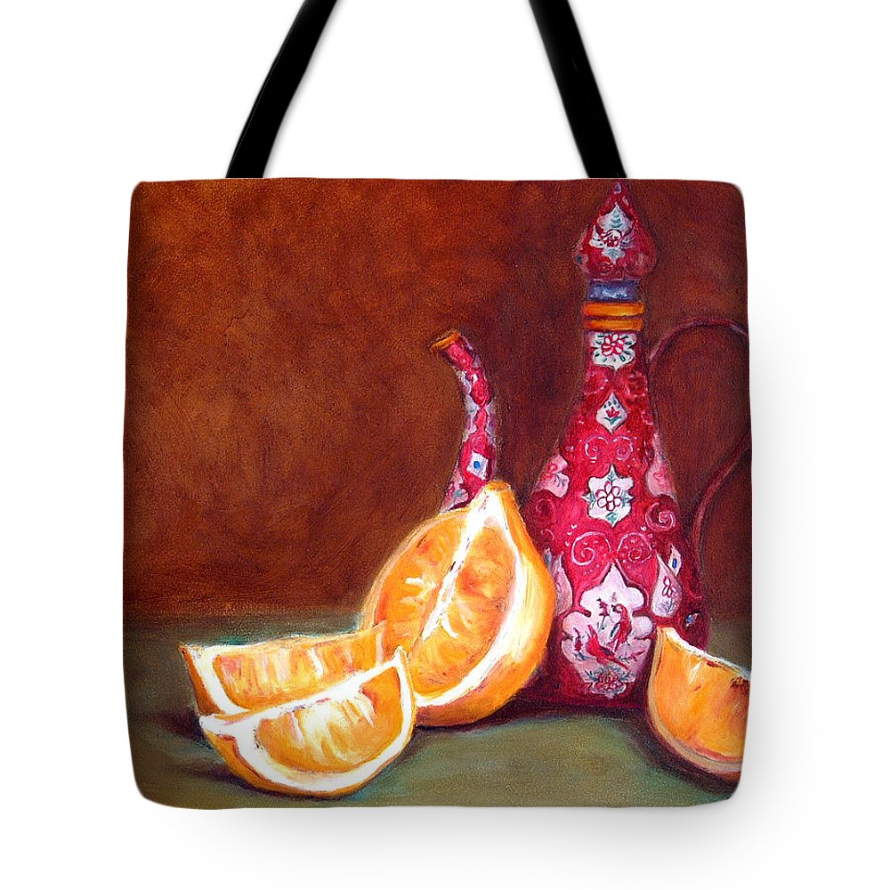 Lemons Tote Bag featuring the painting Iranian Lemons by Enzie Shahmiri