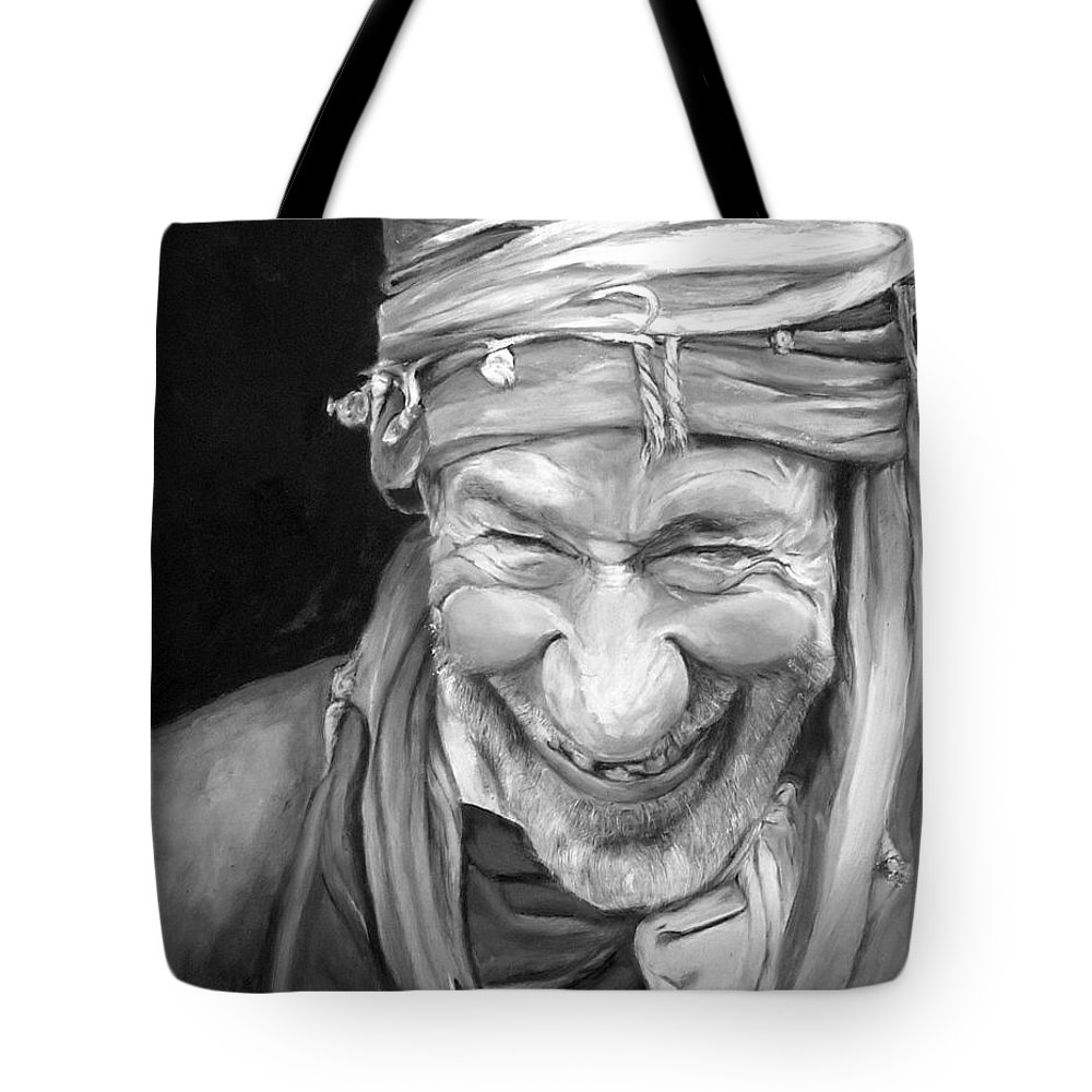 Man Tote Bag featuring the painting Iranian Man by Enzie Shahmiri