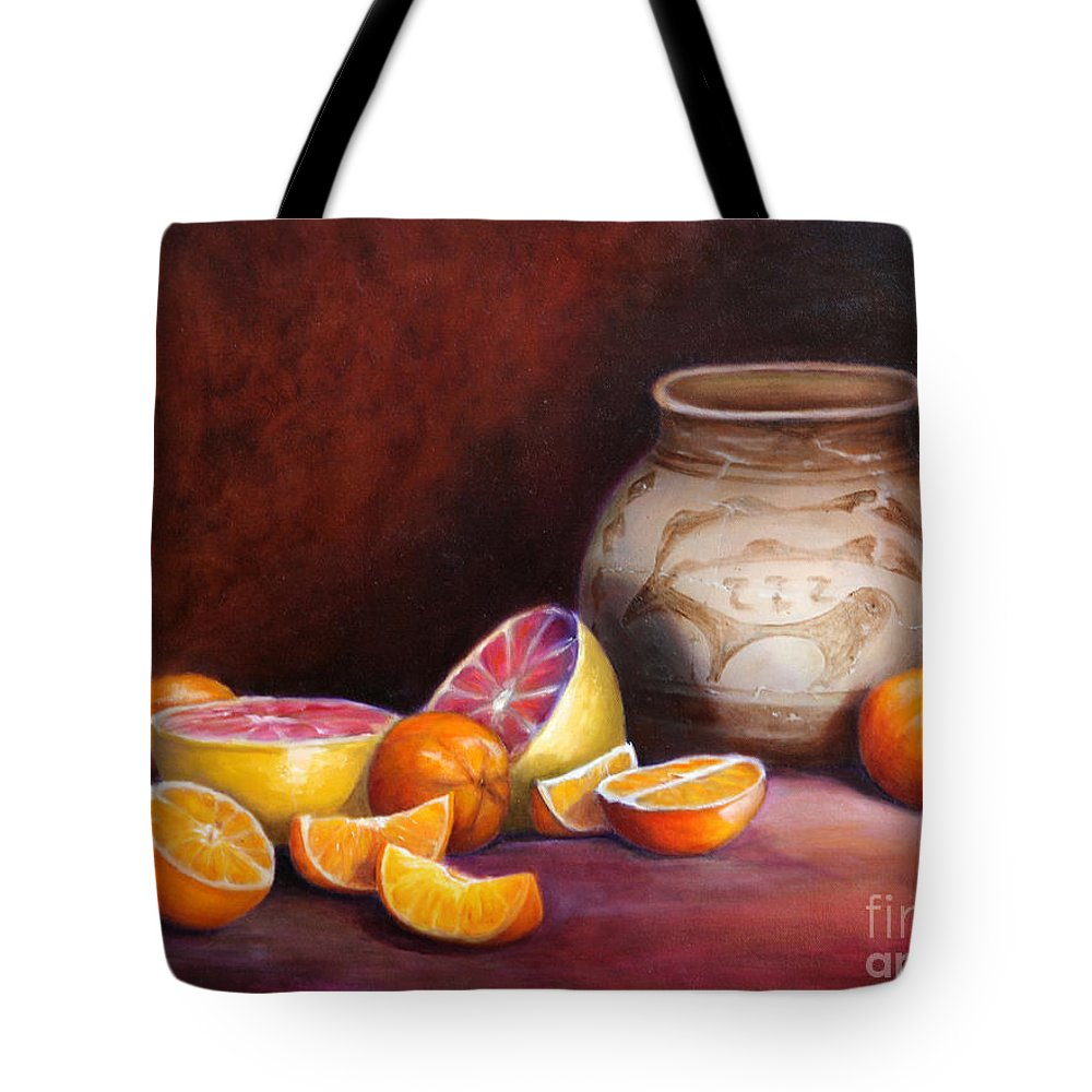 Still Life Paintings Tote Bag featuring the painting Iranian Still Life by Enzie Shahmiri