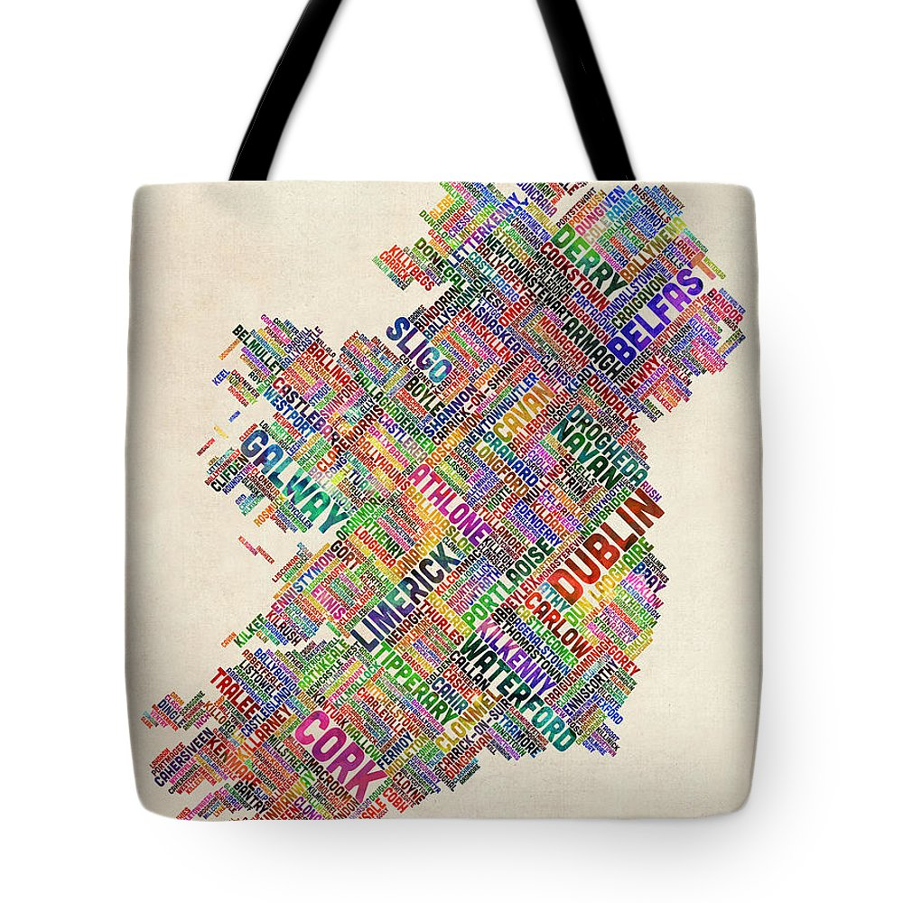 Text Map Digital Art Tote Bags