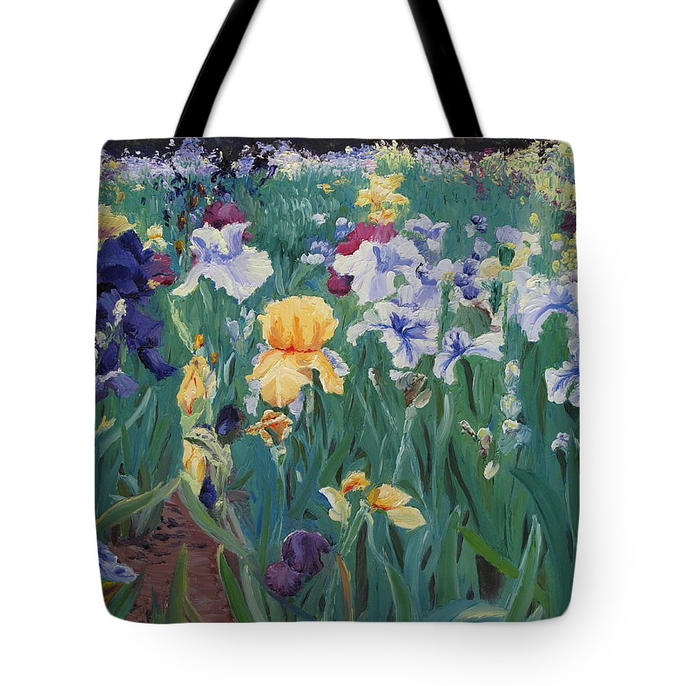 Flower Tote Bag featuring the painting Iris Abun-dance by Lea Novak