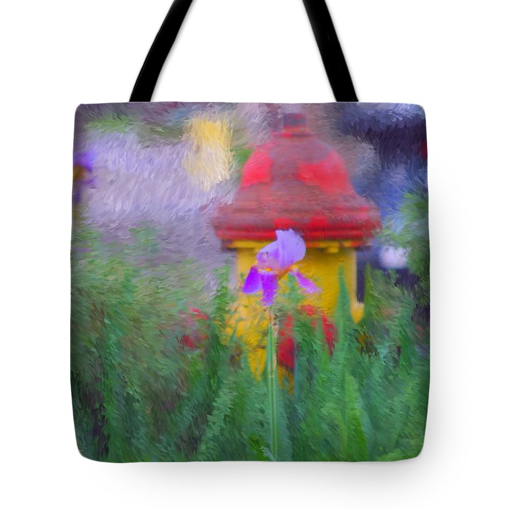 Digital Photo Tote Bag featuring the photograph Iris And Fire Plug by David Lane