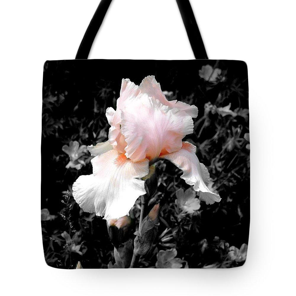 Flower Tote Bag featuring the photograph Iris Emergance by Steve Karol
