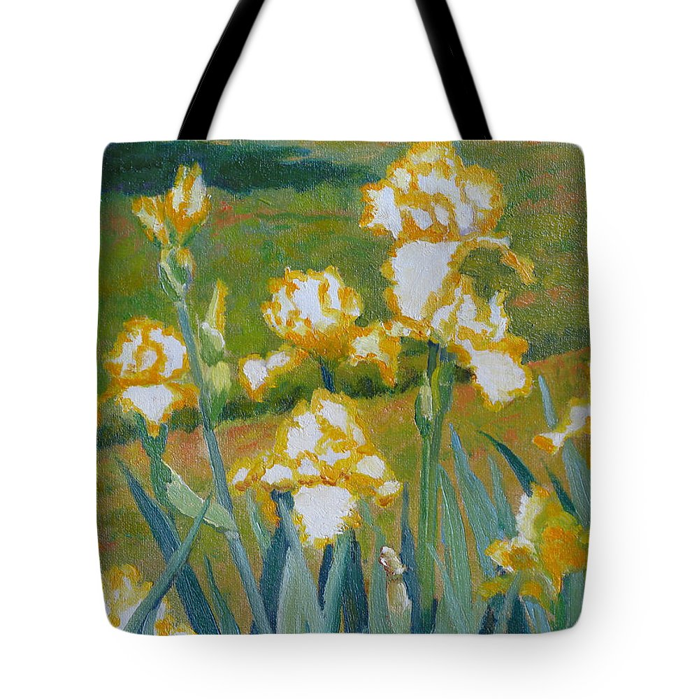 Impressionism Tote Bag featuring the painting Iris Etude by Keith Burgess
