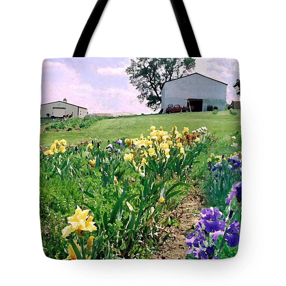 Landscape Painting Tote Bag featuring the photograph Iris Farm by Steve Karol