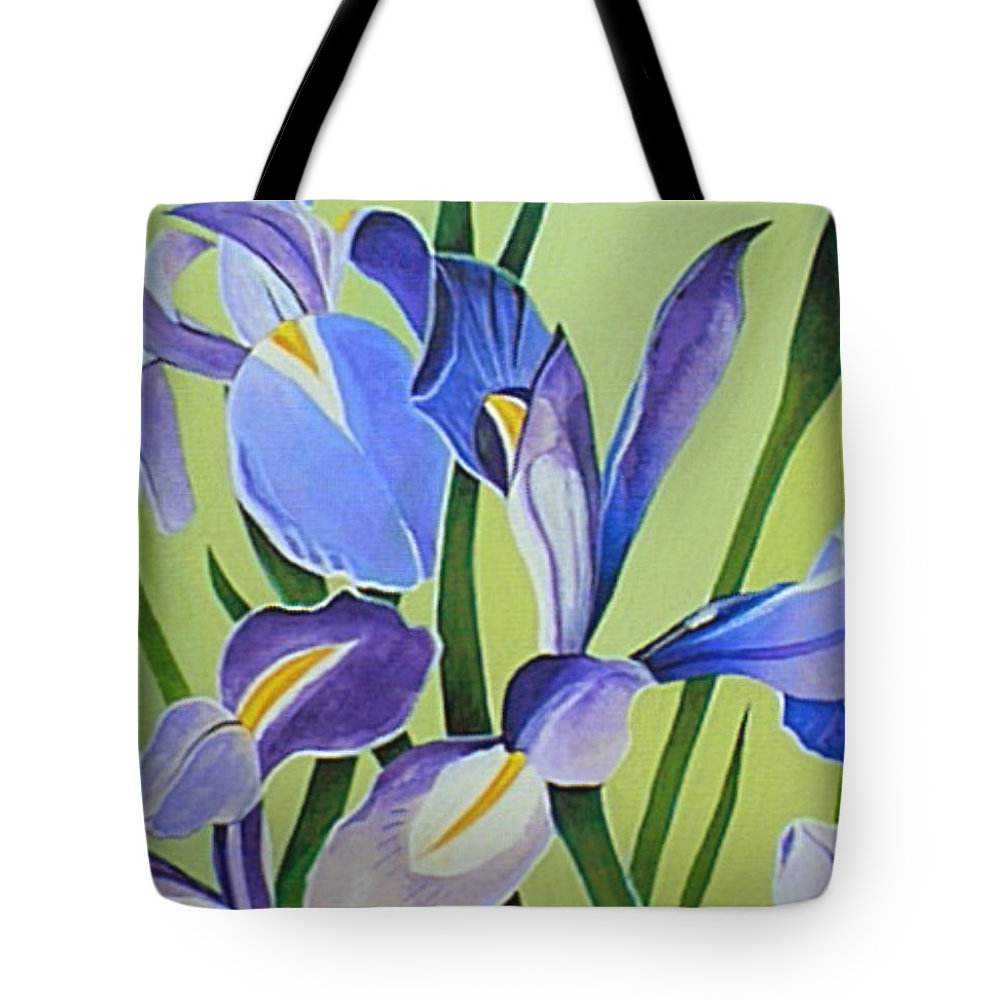 Flower Tote Bag featuring the painting Iris Fields - Center Panel by Helena Tiainen