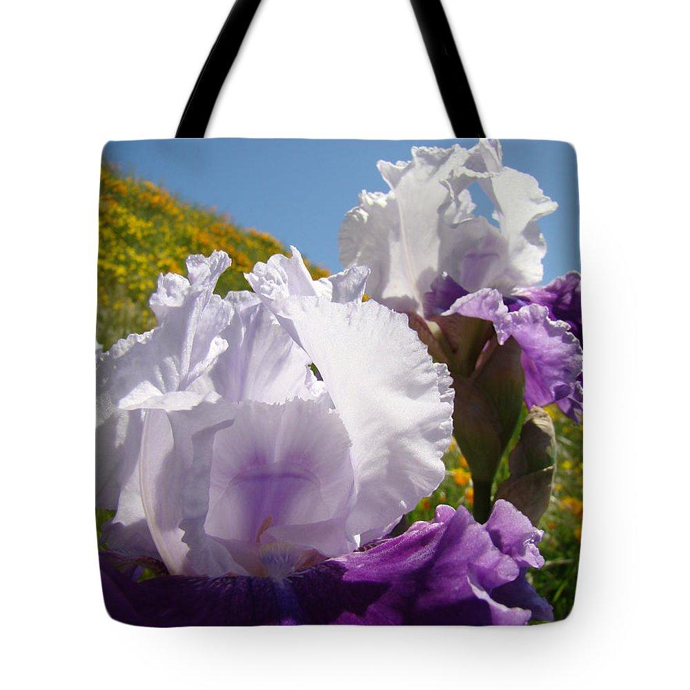 �irises Artwork� Tote Bag featuring the photograph Iris Flowers Purple White Irises Poppy Hillside Landscape Art Prints Baslee Troutman by Baslee Troutman