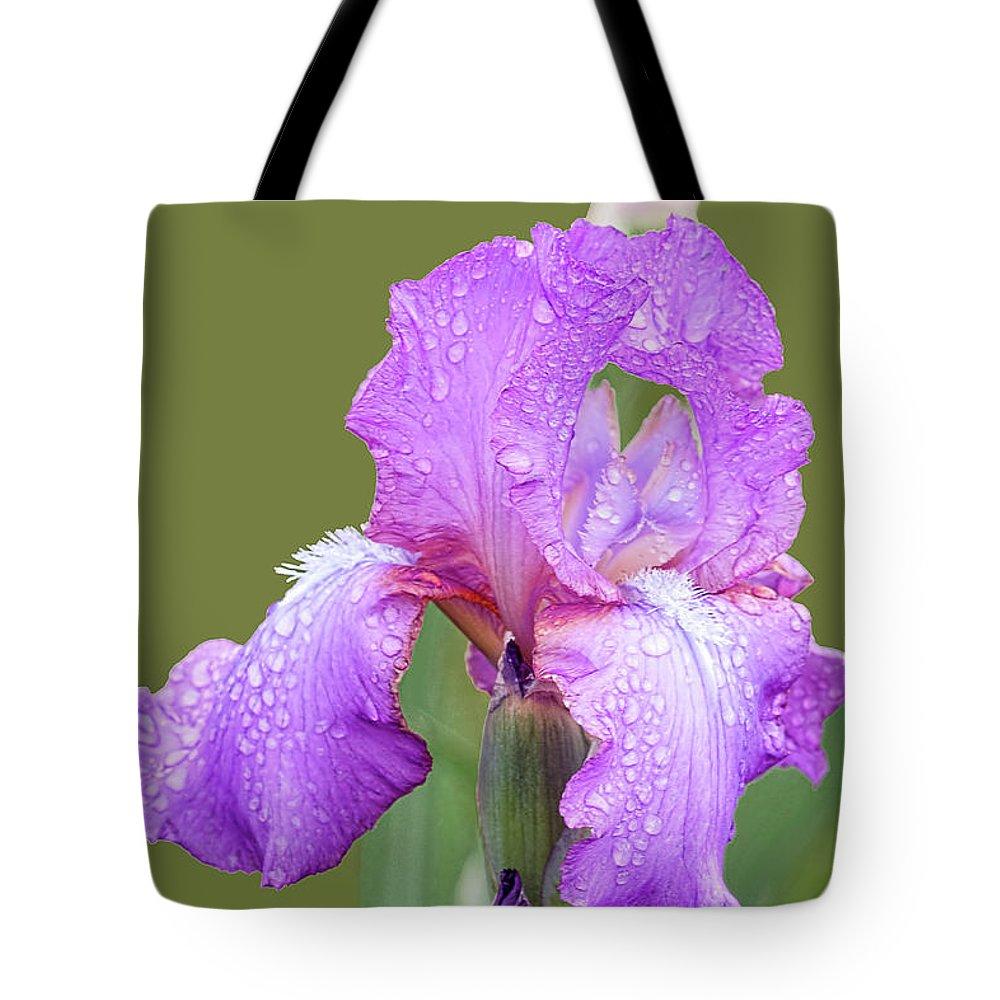 Lavender Iris Tote Bag featuring the photograph Iris In Summer Rain by Regina Geoghan