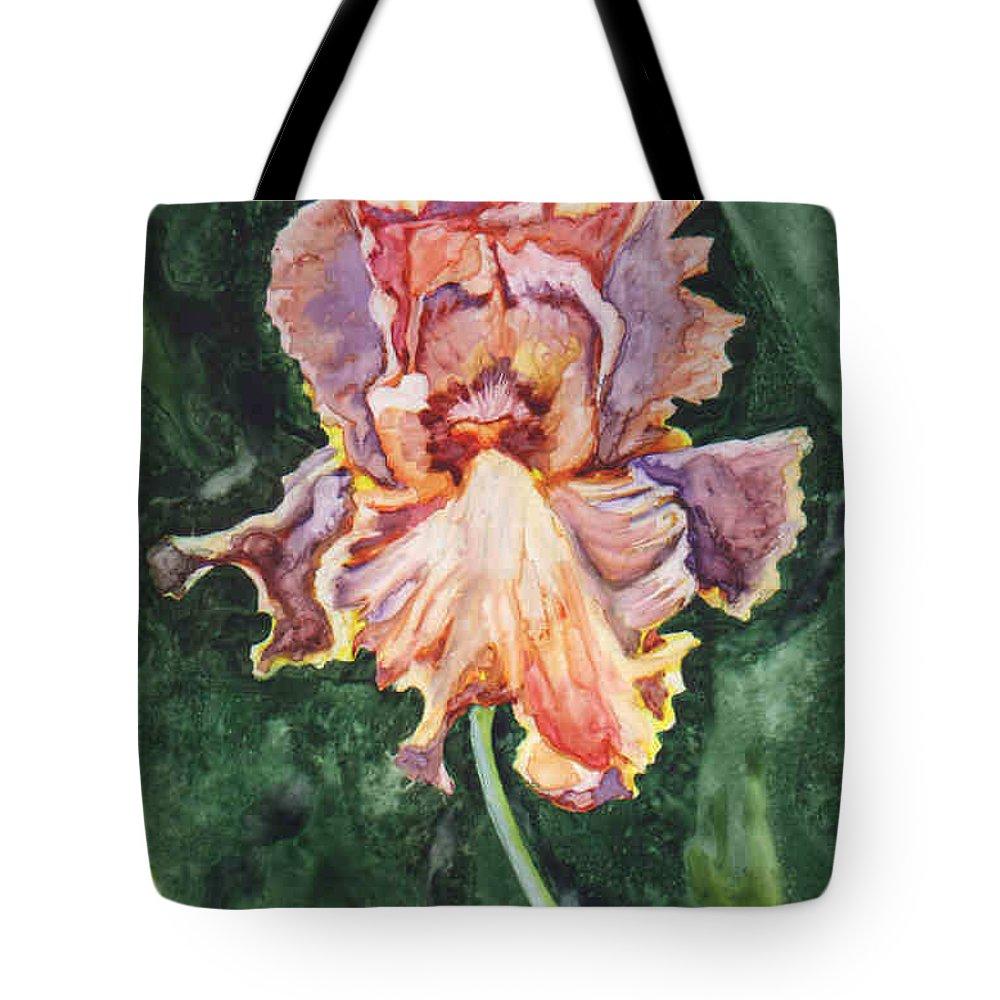 Iris Tote Bag featuring the painting Iris On Yupo by Marsha Elliott
