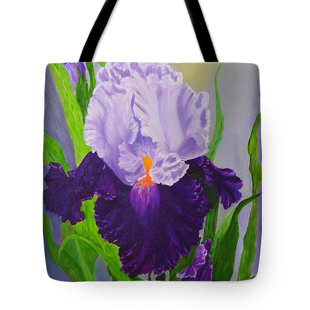 Floral Painting Tote Bag featuring the painting Iris by Peggy Holcroft