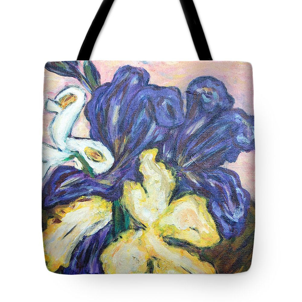 Iris Tote Bag featuring the painting Iris Still Life by Carolyn Donnell