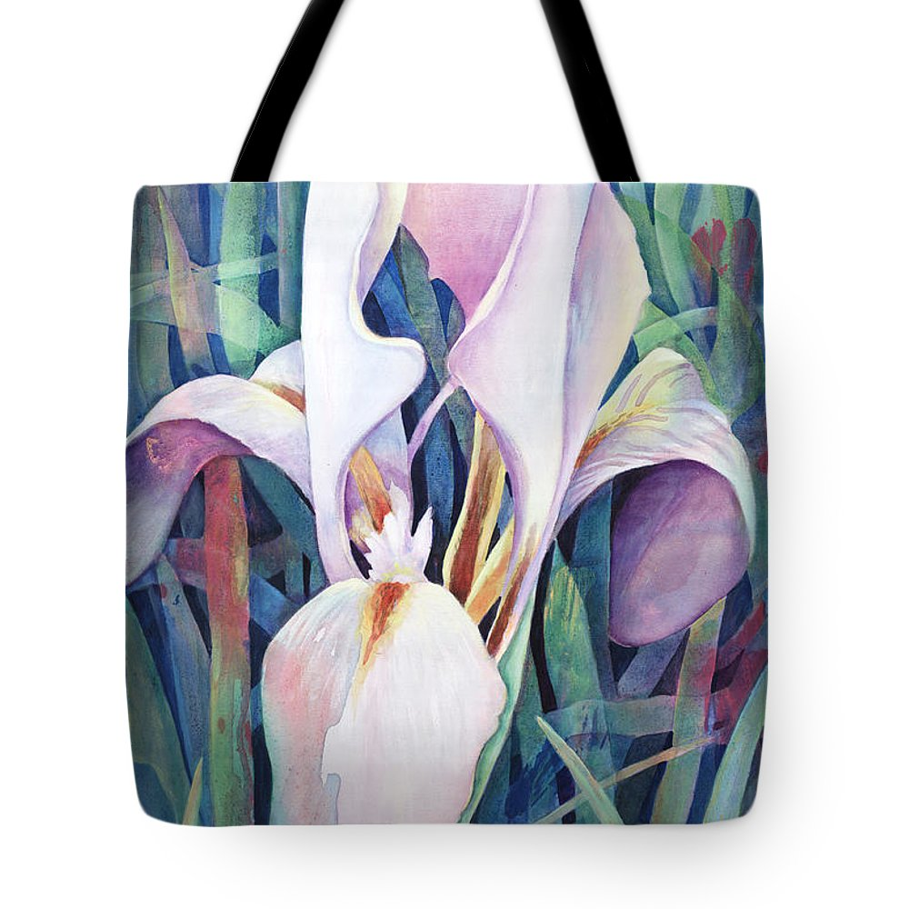 Fine Art America Flower Paintings Tote Bag featuring the painting Iris by Susanne Clark