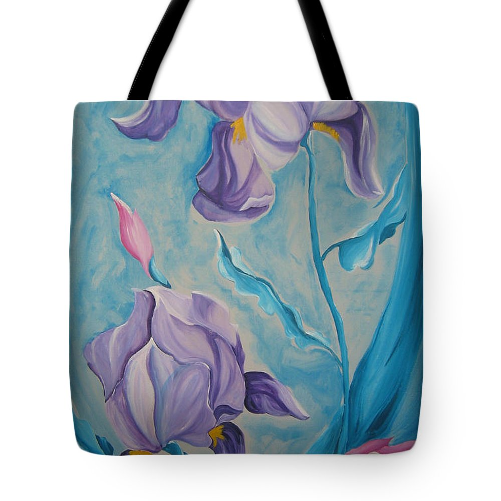 Flowers Tote Bag featuring the painting Iris by V Boge