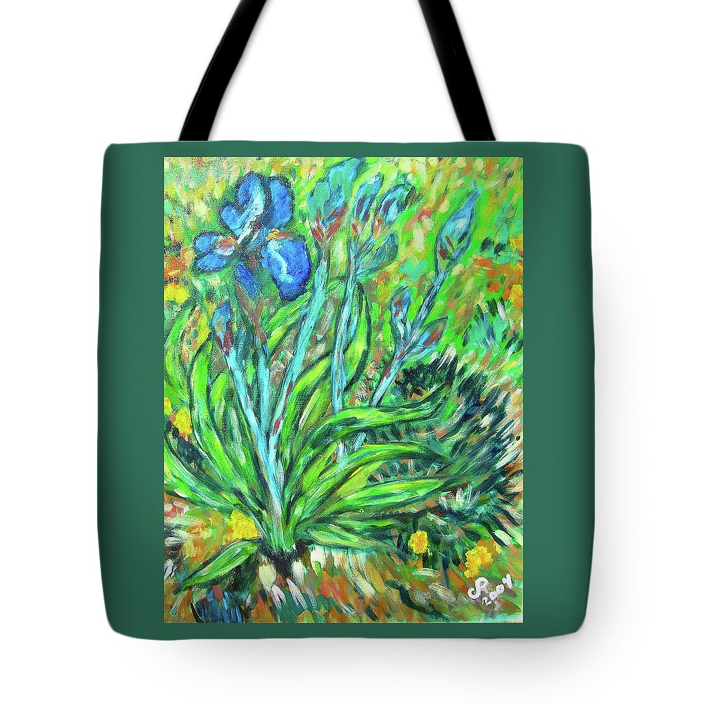 Iris Tote Bag featuring the painting Irises Ala Van Gogh by Carolyn Donnell