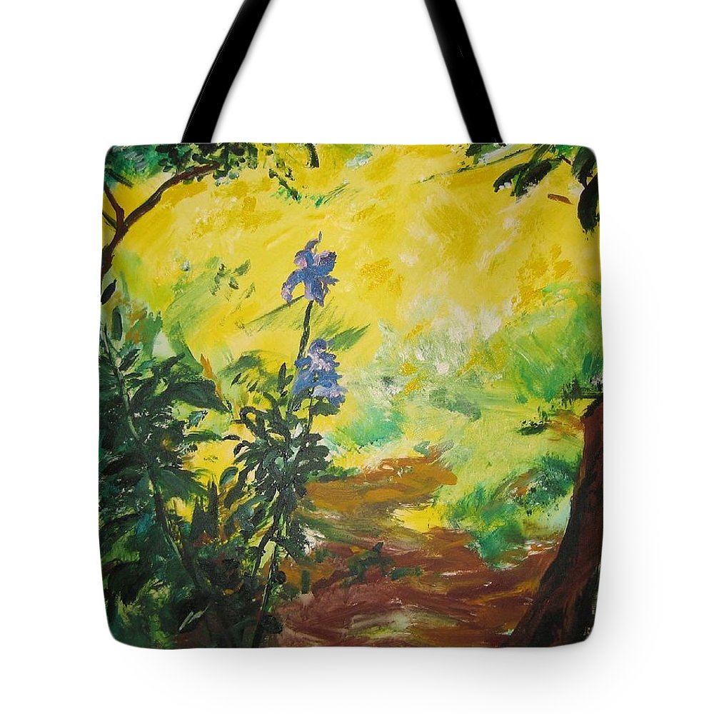 Sunlight Tote Bag featuring the painting IRISES And SUNLIGHT by Lizzy Forrester