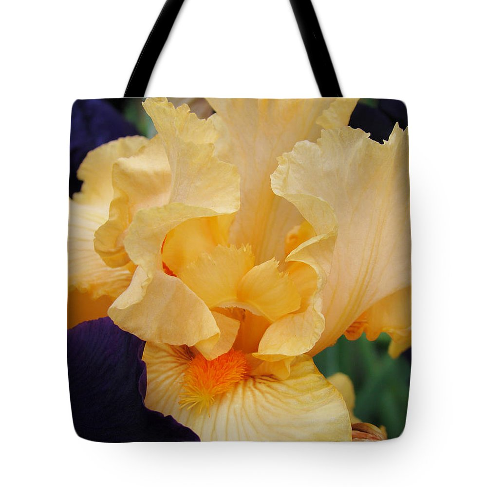 �irises Artwork� Tote Bag featuring the photograph Irises Art Prints Peach Iris Flowers Artwork Floral Botanical Art Baslee Troutman by Baslee Troutman